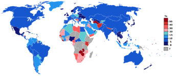 Unemployment rate world from CIA figures