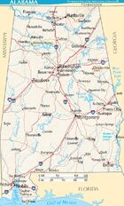 Map of Alabama terrain NA