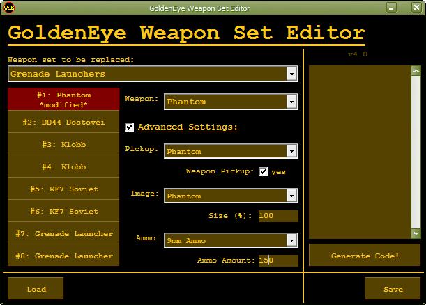 Goldeneye weapon set editor