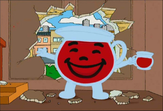 the kool aid man is the mascot for kool aid a brand of flavored drink    Oh Yeah Gif Kool Aid