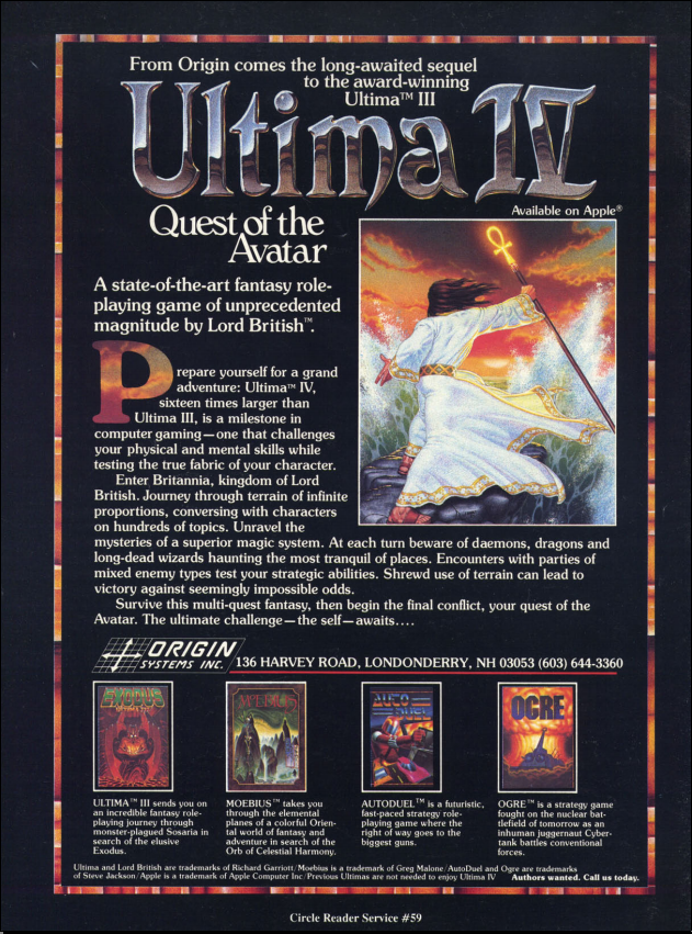Ultima IV: Quest of the Avatar - Apple II, IBM PC, Commodore 64 (1985), Ata