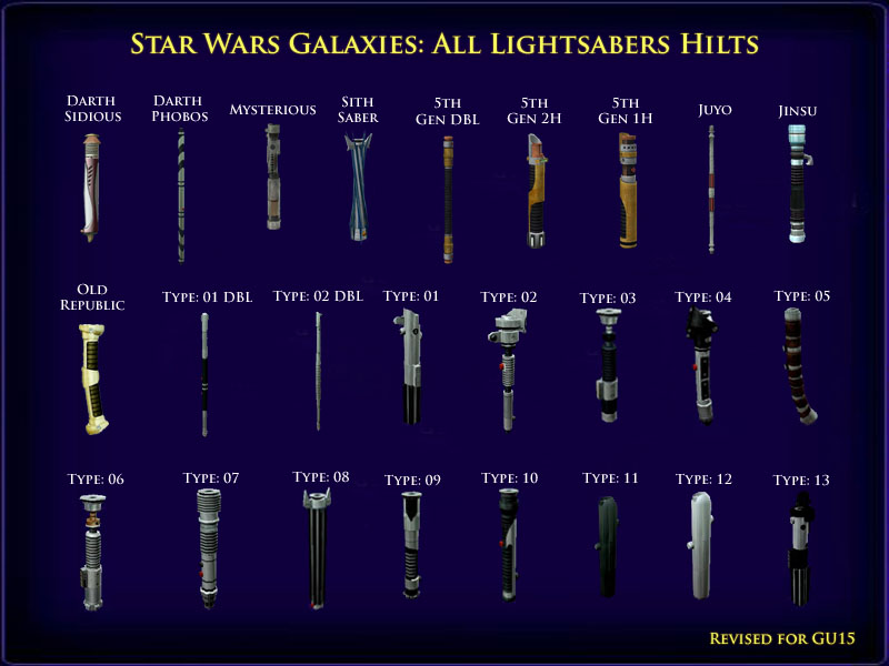 As of gu15 here is an image of all the currently available lightsaber