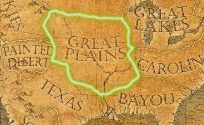 The Great Plains on an enlightenment age map Great Plains Map