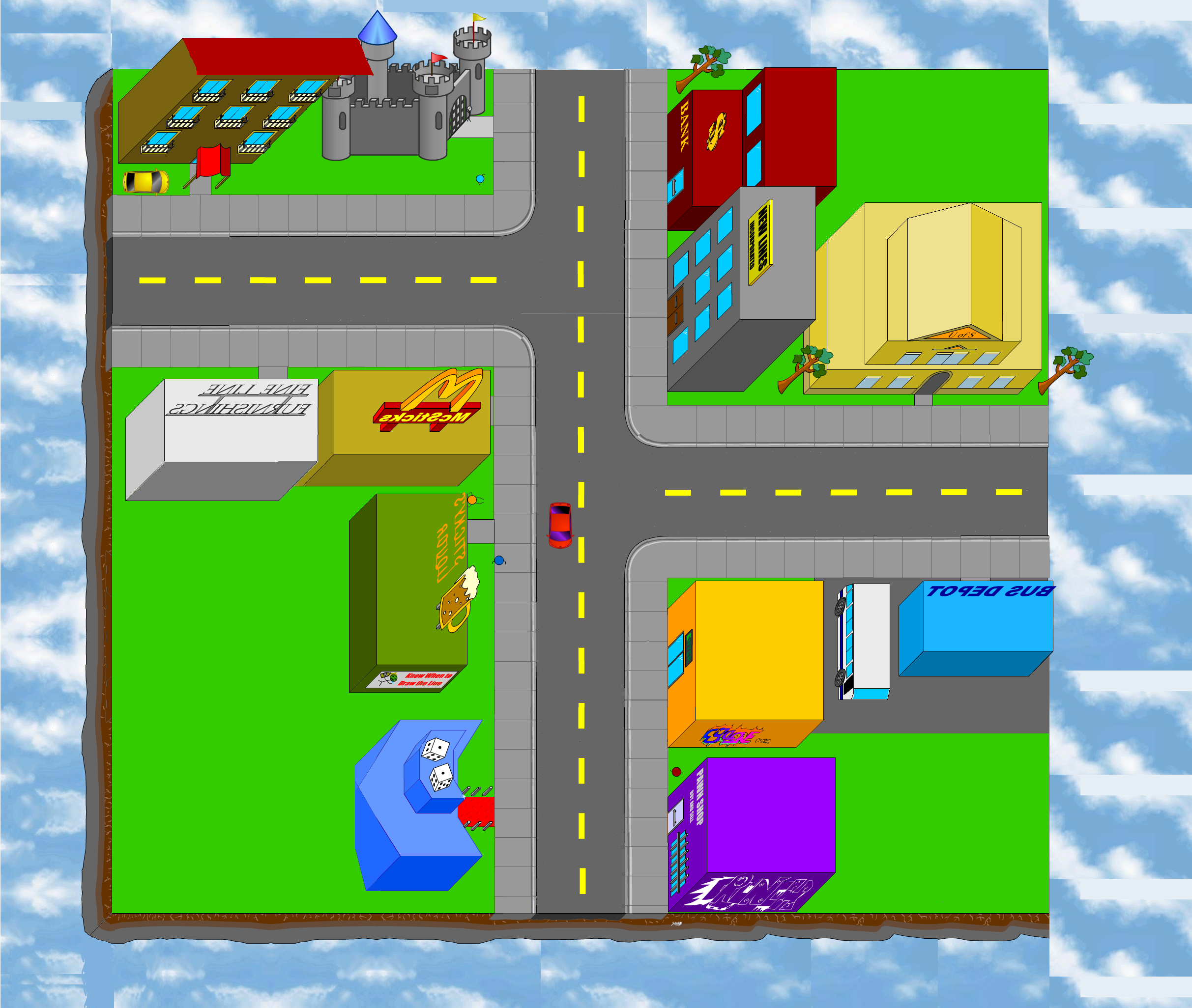 Map of the 2 dimensional world as it appears in stick rpg complete