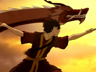 aang and zuko meet the dragons
