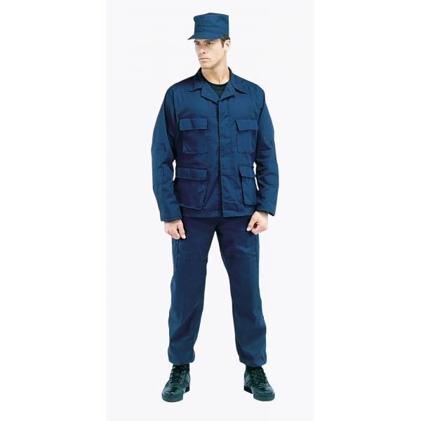 The working uniform for all ranks is a navy blue BDU-style uniform.