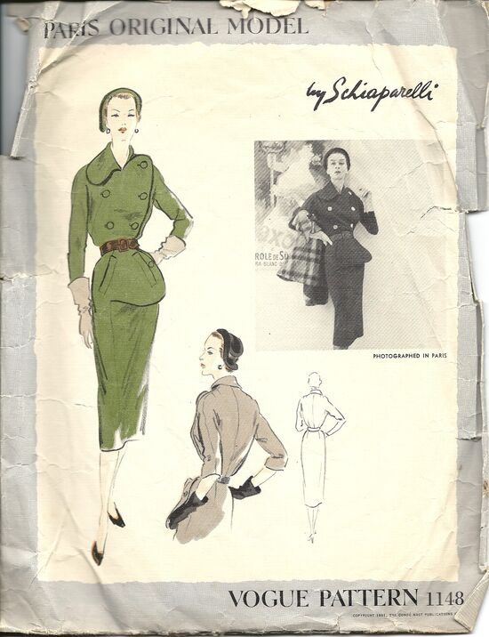 1950s Schiaparelli dress pattern - Vogue 1148