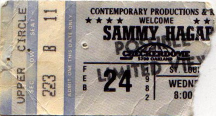 image sammy hagar ticket 2 24 1982 sammy hagar night ranger the checkerdome in st louis. Black Bedroom Furniture Sets. Home Design Ideas