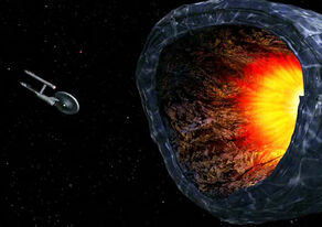 USS Enterprise tractored into planet killer, remastered
