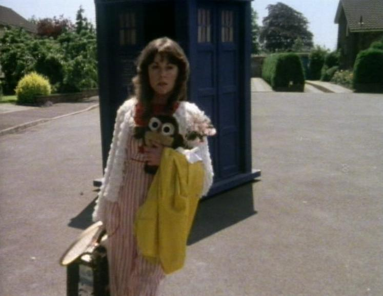 Sarah Jane Smith walking away from the TARDIS