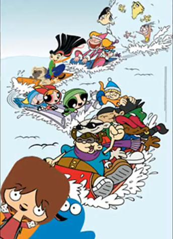 Artwork of characters from the Cartoon Cartoons at Christmastime.
