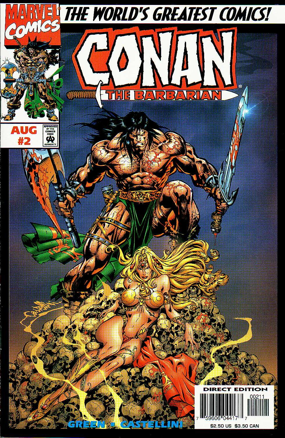 CONAN THE BARBARIAN # 2 FN+ (6.5) B. SMITH ART- GLOSSY- CENTS- 1970- WHITE PGS