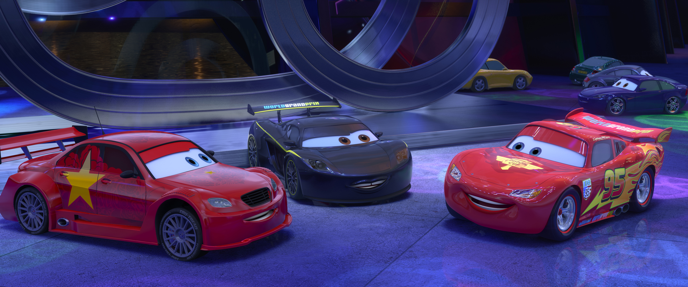 Long ge with lewis hamilton and lightning mcqueen