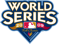 "The words ""World Series"" above the text ""2009 Fall Classic"" with the logo of Major League Baseball."