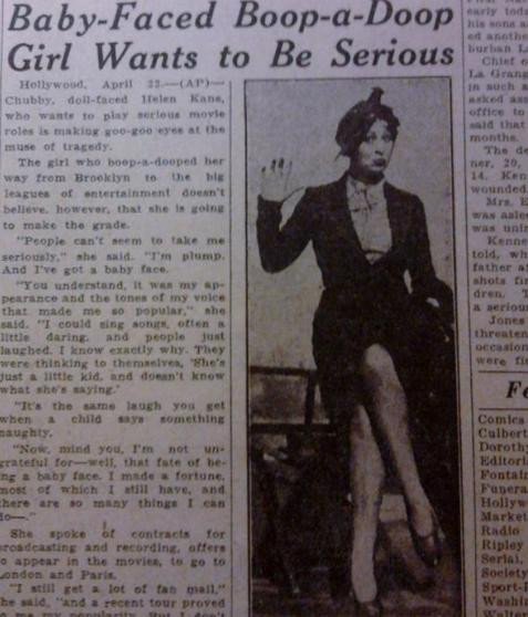 Chubby doll faced helen kane who wants to play serious movie roles