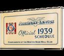 AL Baseball Schedule 1939