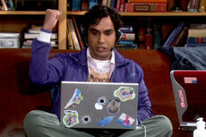 Raj playing on his PC