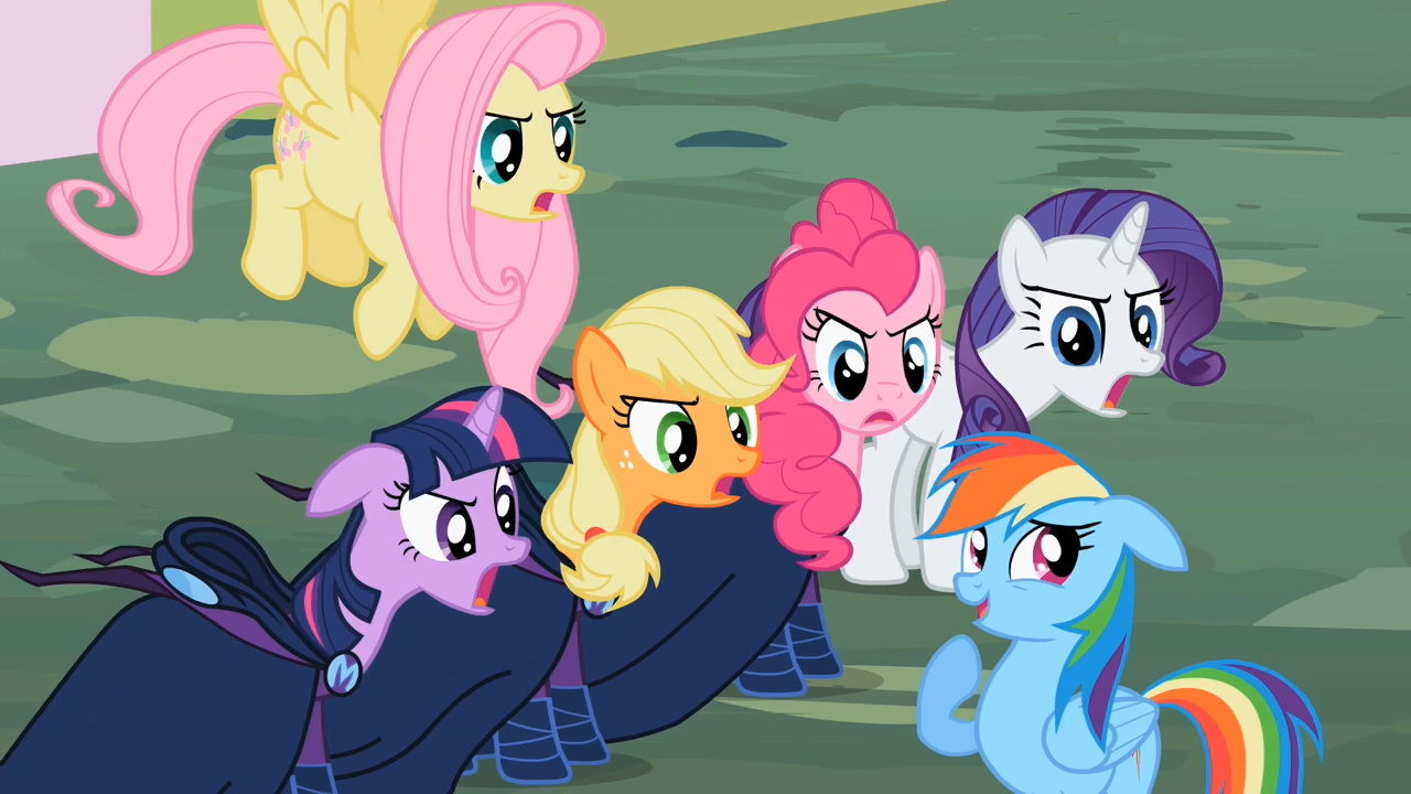 main cast and rainbow dash a little s02e08 png   my little pony