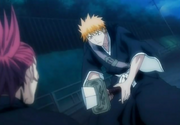 Ichigo's sword is sliced