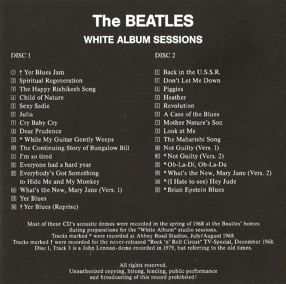 White Album Sessions Cd The Beatles Collectors Wiki