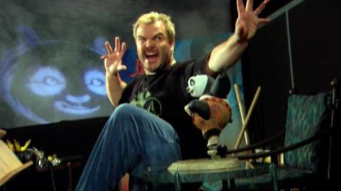 Kung Fu Panda (2008) - Behind the scenes Jack Black in studio