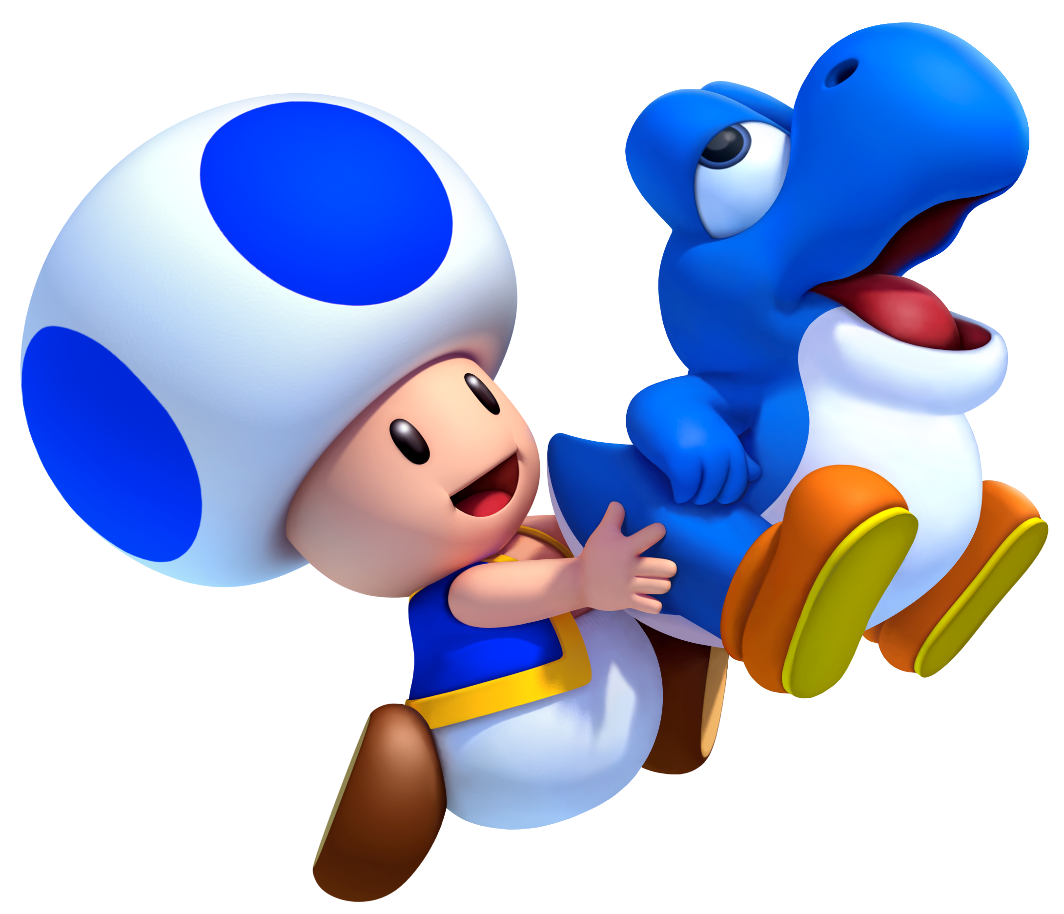 Blue Toad holding a blue Baby Yoshi in New Super Mario Bros. U .