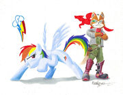 Rainbow dash fox mccloud by primogenitor34-d4gtuq7