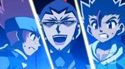 Gingka e Masamune atacar a força espiral
