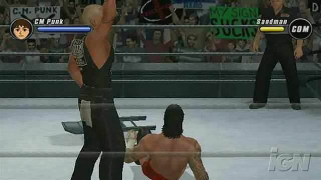 WWE SmackDown vs. Raw 2008 Nintendo Wii Gameplay - Punk Finishes the Job