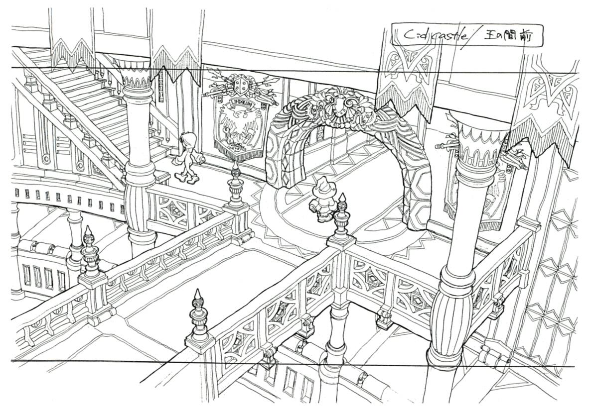 Image lindblum castle hallway ff9 art the final for Final fortress blueprints