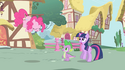 Pinkie Pie about to zoom out of the scene S1E01