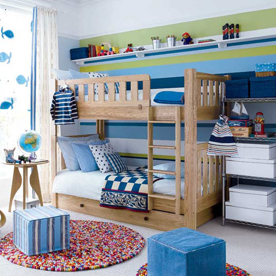 Blue Bedroom Boys Bedroom Modern Design Apartment With Loft Bedroom Blinds For Bedroom: 10-blue-green-white-striped-wall-modern-kids-room