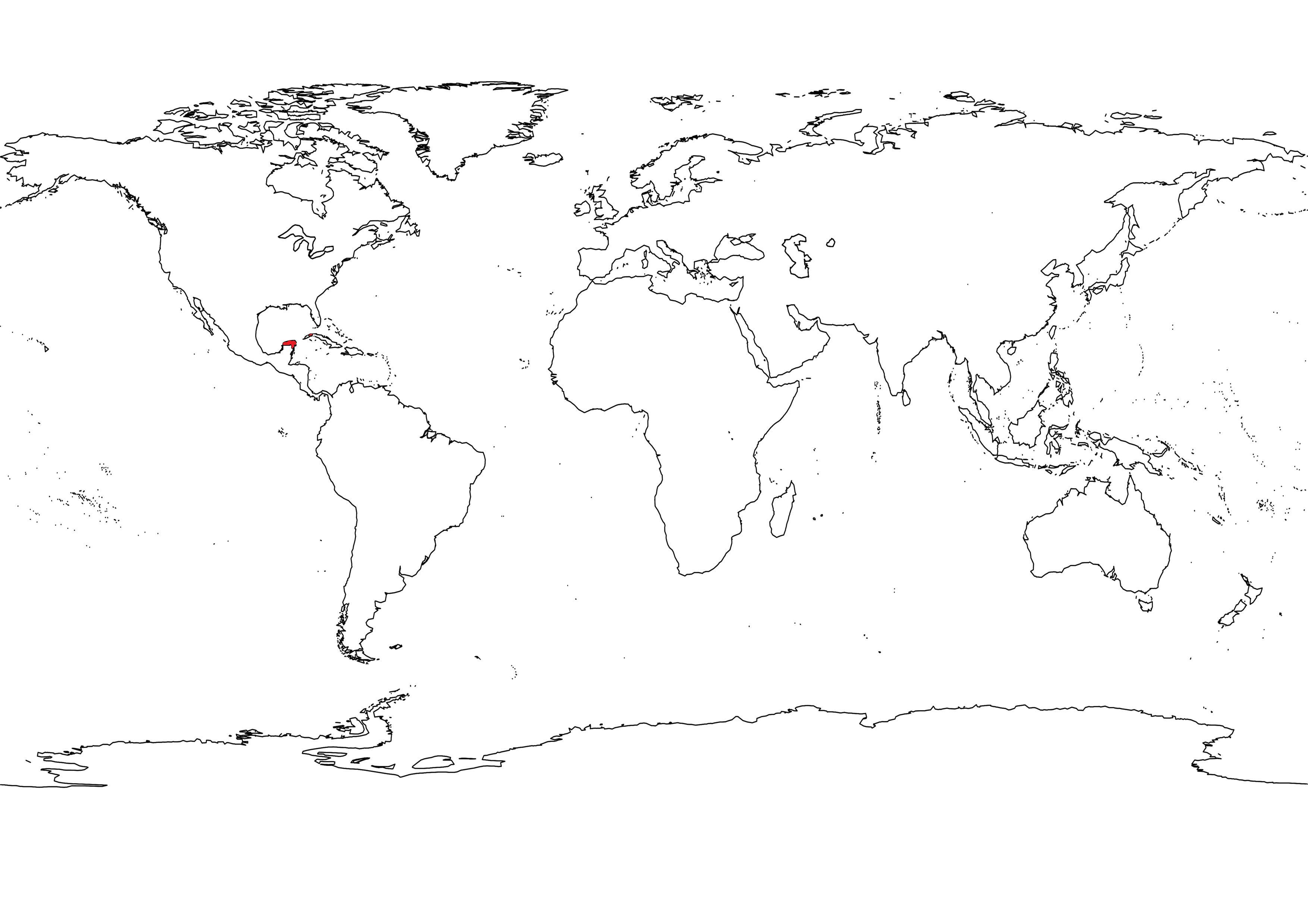 Outline Black White World Map