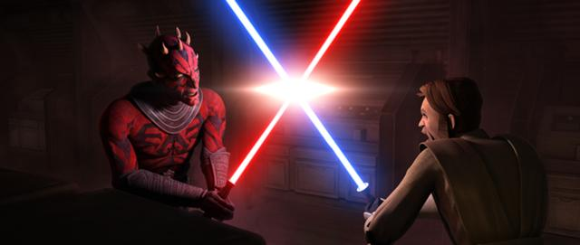 Maul fighting Obi-Wan for the Anakin Skywalker Vs Darth Maul
