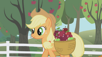 Applejack walking through the apple orchard S01E03