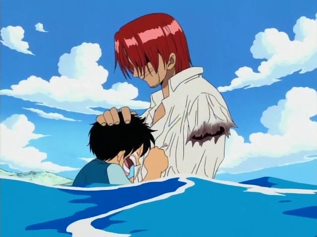 Shanks losing his arm in the original anime.