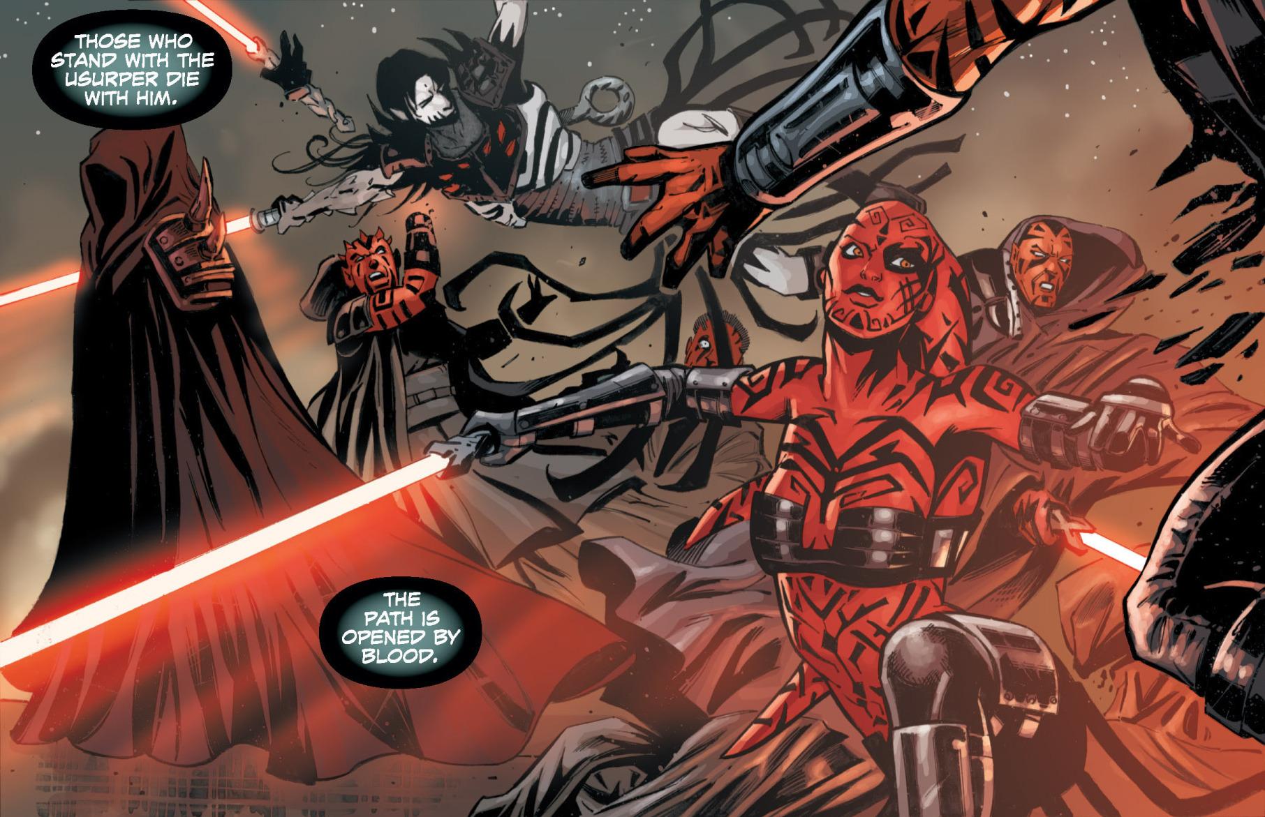 Talon and Nihl facing off Darth Wyyrlok's Sith allies.: http://starwars.wikia.com/wiki/Darth_Talon