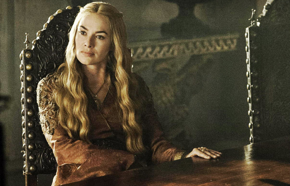 Cersei sits in the sma...