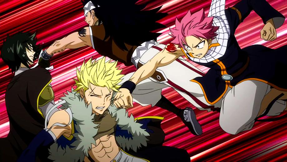 Natsu y Gajeel vs  Sting y RogueGajeel Vs Rogue