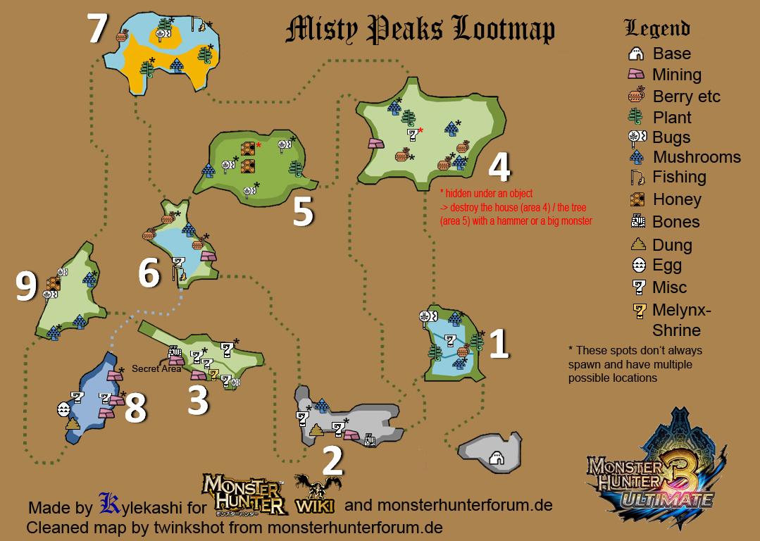 [ MH3U ] Pics brumeux Mistypeakslootmap
