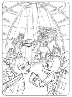 Flameslinger coloring pages ~ Spyro with Gill Grunt, Eon, and Wiggleworth