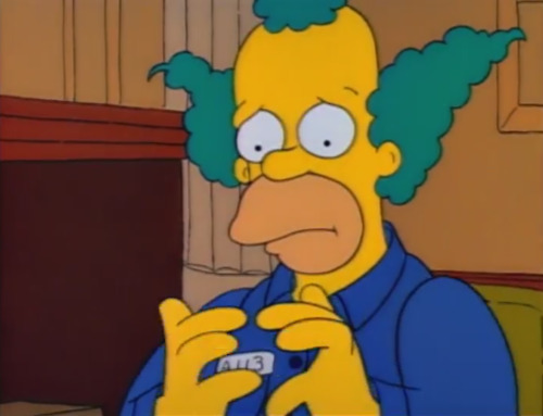 Image krusty the clown sad and flushed when sideshow bob - Clown simpson ...