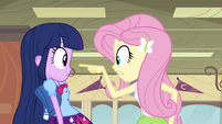Fluttershy warns Twilight about Sunset EG