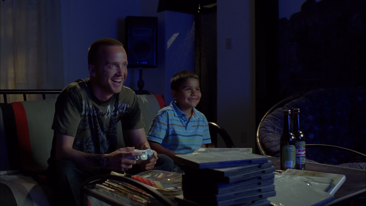 "Jesse and Brock playing video games ("" Crawl Space "")"
