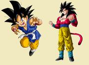 Goku da normale a Super Sayan 4