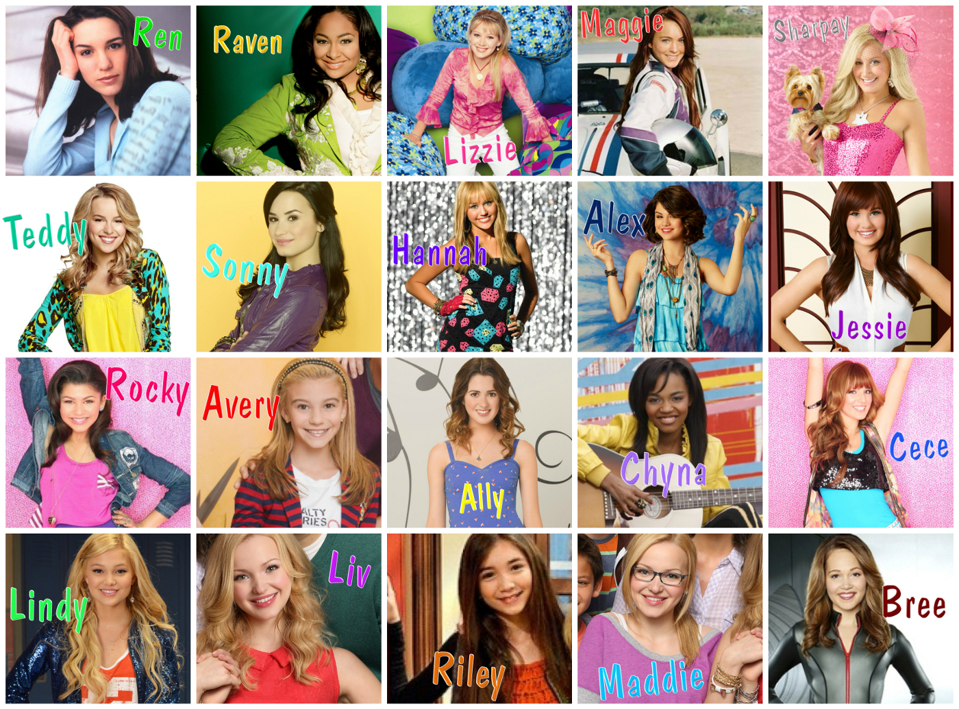 Disney Channel Girl Character Collage (Size)