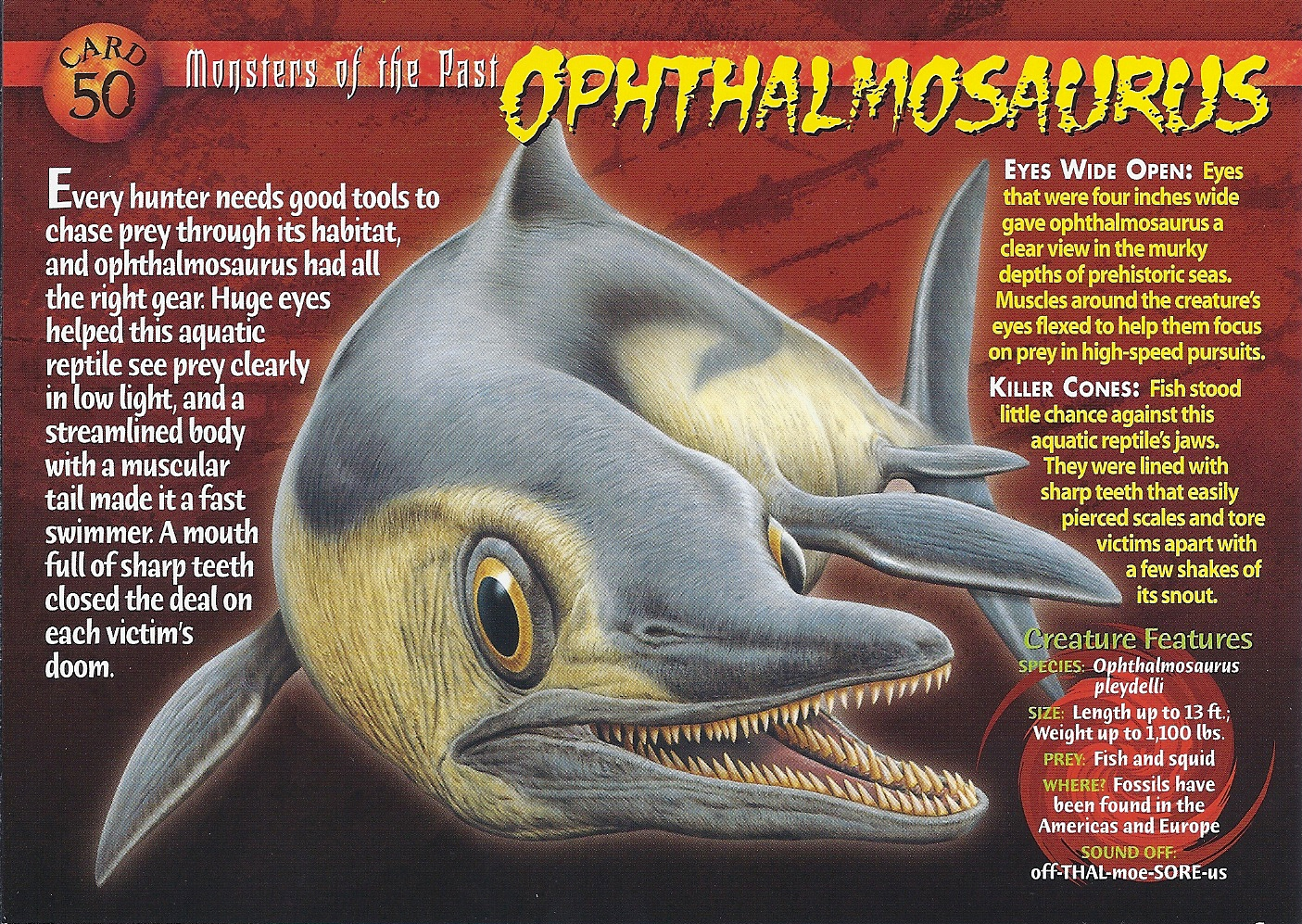 Ophthalmosaurus Monsters of the Past Card 50 front