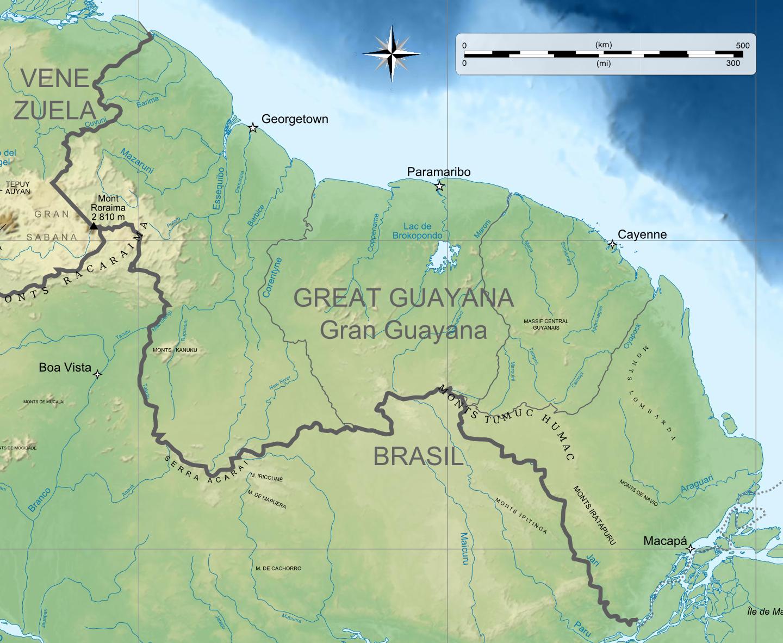 Rep  250 blica de la Gran Guayana topografico pngOrinoco River Map