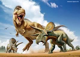 atacando a un Triceratops   Otro Triceratops observa desde detr  225 sT Rex Vs Triceratops Fighting