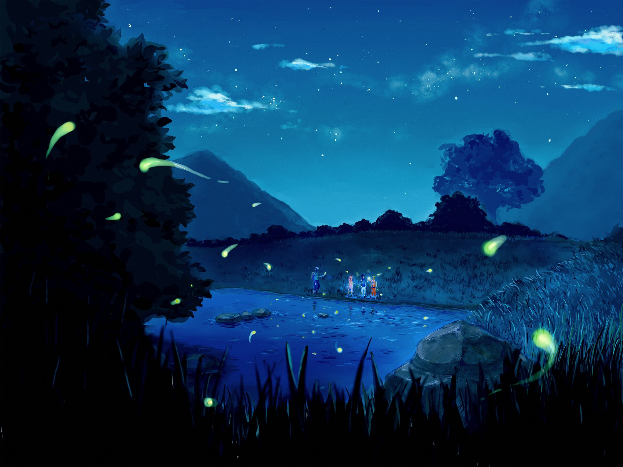 Anime Naruto Night Lake Star Clouds Nature Trees Mountains Friends Team Jpg